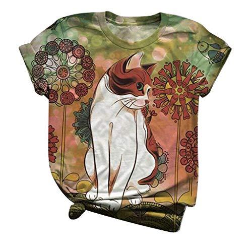 Dicomi Plus Size Women Short Sleeve T-Shirt 3D Kitty Cat Printed Crewneck Loose Tee Blouse Tops Green