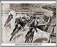 ポスター アーティスト不明 Women Track Cyclists 1898 額装品 アルミ製ハイグレードフレーム(シルバー)