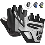 MAJCF Cycling Gloves Men Bicycle Gloves Half Finger 5MM Gel Pad Shock-Absorbing Mountain Bike Gloves, Anti- Slip Road Riding Gloves Breathable Sports Gloves Accessories for Men/Women (Black/Gray, XL)