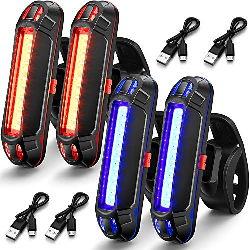 4 Pieces Bike Rear Tail Light USB Rechargeable Bicycle Taillight Ultra Bright Bike LED Safety Light Waterproof Cycling Taillight 7 Light Modes for Road Mountain Bike