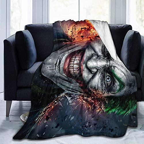 Joker Comics Manta de forro polar suave y cálida manta de franela para sofá cama, 126 x 100 cm