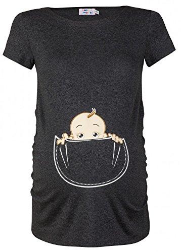 Happy Mama. Damen Baby in der Tasche T-Shirt Top Oberteil für Schwangere. 501p (Graphit Melange, 40-42, L)