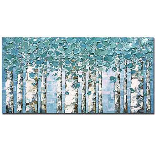 V-inspire Art, 24x48 inch Modern Abstract Painting The Tree Art Oil Paintings Hand-Painted On Canvas Wall Art Abstract Acrylic Art Wood Inside Framed Hanging Wall Decoration