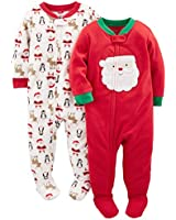Simple Joys by Carter's Baby Toddler 2-Pack Holiday Loose Fit Flame Resistant Fleece Footed Pajamas, Ivory Santa/Red Santa, 4T