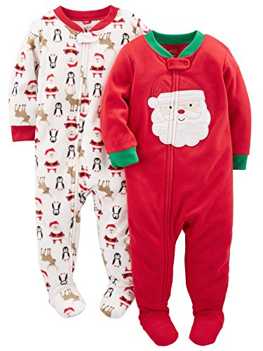 Simple Joys by Carter's Baby Toddler 2-Pack Holiday Loose Fit Flame Resistant Fleece Footed Pajamas, Ivory Santa/Red Santa, 3T