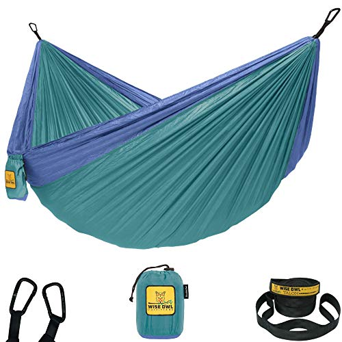 Wise Owl Outfitters Camping Hammocks - Portable Hammock Single or Double Hammock for Outdoor, Indoor w/ Tree Straps - Backpacking, Travel, and Camping Gear, Sea Green & Pacific Blue (Double)