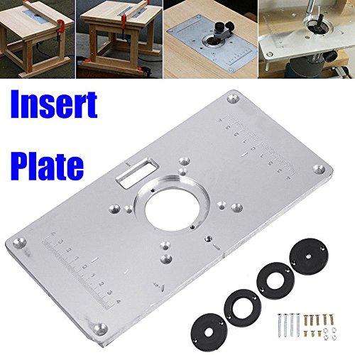 Yefun 700C - Placa de inserción para mesa -aluminio, incluye 4 anillas de tornillos, para bancos de carpintería-235 x 120 x 8 mm