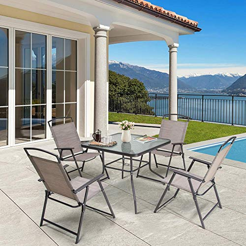 Crestlive Products 5 Piece Patio Dining Set with 4 Folding Chairs and Table Outdoor Dining Furniture...