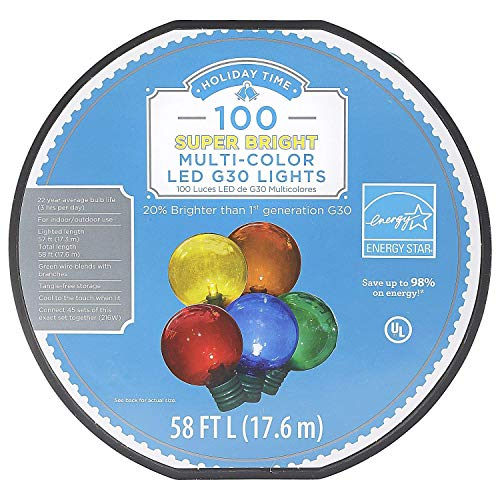 100 Ct Multi colored LED G30 Lights