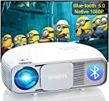 Bluetooth Projector 340ANSI Lumens(Remarkable US Brightness Standard) Native 1080P Full HD, Home & Outdoor Led Video Projector Support 4K / Zoom / Keystone for iPhone / Android / Laptop / TV Stick