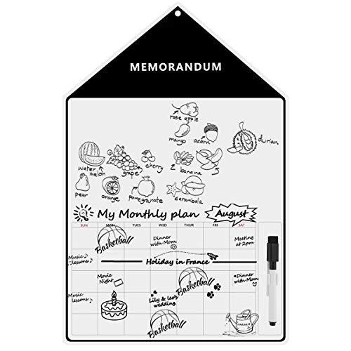 Magnetische whiteboard-herinnering met droog afwisbare marker vuilafstotend wisbaar memorandum wekelijkse maandkalender voor planners, message board, grote boodschappenlijst-organizer, 11 x 17 cm M Zwart 11,8 x 17,7 inch