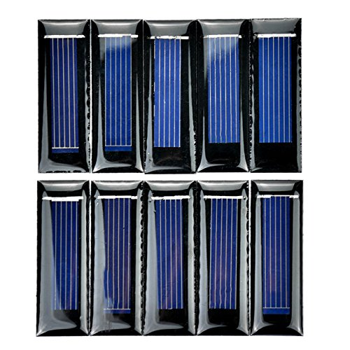 REFURBISHHOUSE 10 Stueck Mini Solar Panel neue 0.5V 100mA Solarzellen Photovoltaik Modul Sonnenkraft Ladegeraet DIY 53 * 18 * 2,5 mm
