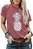 Women's Summer Pineapple Printed T Shirt Casual Short Sleeve Tops Girls Graphic Tees Size S (Red)