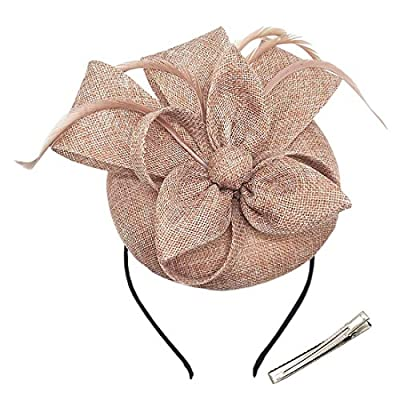 Antjoint Womens Fascinators Pillbox Hat Sinamay Feather Flower Clip Wedding Tea Party Cocktail Derby