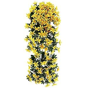 JENPECH Artificial Plant DIY Craft 2 Pcs Small Lily Flower Rattan Fake Outdoor UV Resistant Plants – Farmhouse Shrubs for Hanging Planter Garden Cemetery Grave Kitchen Decor Yellow