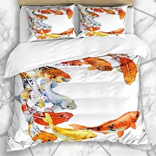 Duvet Cover Sets Swim Aquatic Watercolor Koi Carps Fish Red Asian Golden Goldfish Design Yellow Microfiber Bedding with 2 Pillow Shams
