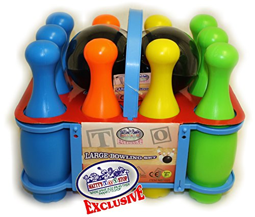 Matty s Toy Stop 10 Pin Multi-Color Deluxe Plastic Bowling Set for Kids with Storage Rack - 12 Pieces Total (10 Pins & 2 Bowling Balls)