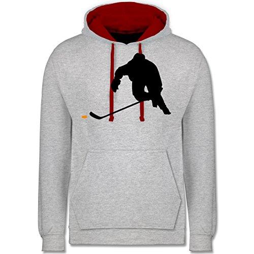 Shirtracer Eishockey - Eishockey Sprint - XS - Grau meliert/Rot - Geschenk - JH003 - Hoodie zweifarbig und Kapuzenpullover für Herren und Damen