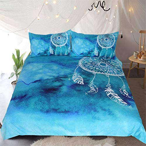 Feather Duvet Cover Set King Size Boho Bedding Set Soft Microfiber Comforter Cover with 2 Pillow Shams,Zipper, Kids Girls Quilt Cover