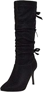 Funnygals - Women's Thigh High Stretch Boot - Trendy Glitter Party Club High Heel Shoe - Mid Calf Boots - Slouch Boots