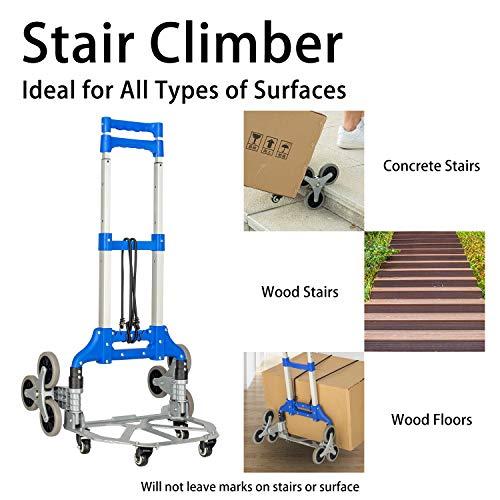 Fullwatt Stair Climber Cart, 15 Inch Height Adjustable Aluminum Portable Folding Stair Climbing Cart Tri-Wheels with Bungee Cord Heavy Duty All Terrain Stair Climbing Hand Truck (Blue)