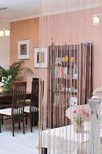 DecoKing 150x75 cm Silber grau Spaghetti Vorhang Perlenvorhang Kräuselband Wäschenetz Korallenvorhang Korallen Fensterdekoration Gardine Spaghetti