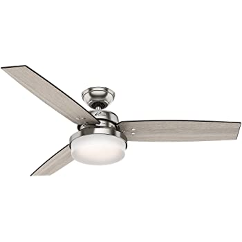 "Hunter Sentinel Indoor Ceiling Fan with LED Light and Remote Control, 52"", Brushed Nickel"