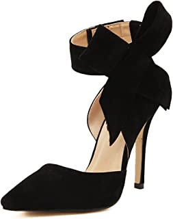 fereshte Women's D'Orsay Dress Pumps Pointy Toe Stiletto High Heels with Bowknot
