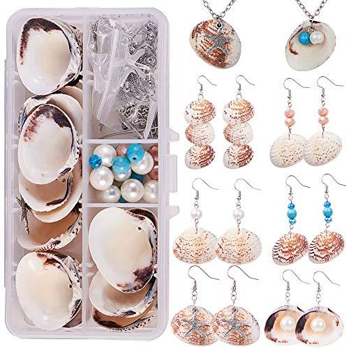 SUNNYCLUE 1 Caja DIY 8 Unidades Starfish Seashell Almeja Shell Collar de Perlas Pendiente Fabricación de Joyas Kit de Inicio Vieira Playa Mar Cuentas de Conchas de Encanto Cuentas de Piedras