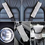 Carlaza 5PCS Bling Car Interior Accessories Set for Women - Bling Rhinestone Car Seat Belt Covers Shoulder Pads, Glitter Gear Shift Cover, Sparkling Handbrake Cover and Girly Car Decor Ring