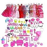 Bontannd Juego De Ropa De 10 Paquetes De Ropa 60pcs Accesorios Barbie Partido Ropa De Muñecas del Vestido De La Muchacha