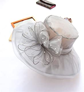 SHENTIANWEI New Vintage Wedding hat Pearl net Yarn Flower hat Double Organza Shade Sun hat Dayan Mao Female (Color : Grey, Size : One Size)