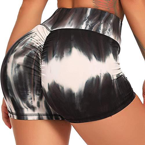 FITTOO Pantalones Cortos Leggings Mujer Mallas Yoga Alta Cintura Elásticos #2 Teñido Anudado Tinta M