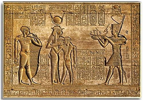 XMYC Arte Abstracto Jeroglíficos egipcios Fresco Templo de Hatshepsut Talla de Piedra Faraón Antiguo Egipto Póster de Pared Print70x90cm sin Marco