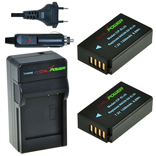 Chili Power EN-EL20, ENEL20Kit: 2x Batería + Cargador para Nikon 1J1, Nikon 1J2,...