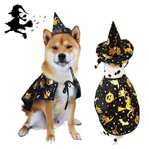 Vehomy Capa de Halloween para Perro, Sombrero de Bruja, Disfraz de Bruja para Gatos y Perros pequeños, Disfraz de Halloween