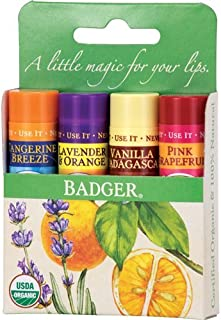 Badger Assorted Classic Lip Balm Green Box- 4 Pack