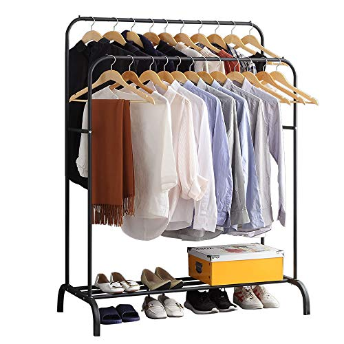 Clothing Double-Rail Garment Rack with Shelves, Metal Hang Dry Clothing Rail for Hanging Clothes,with Top Rod Organizer Shirt and Lower Storage Shelf for Boxes Shoes Boots, Black