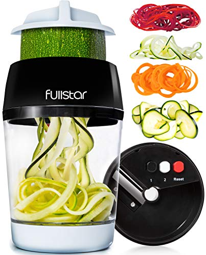 Fullstar Vegetable Spiralizer Vegetable Slicer - 4 in 1 Zucchini Spaghetti Maker Zoodle Maker Veggie Spiralizer Adjustable Handheld Spiralizer Zucchini Noodle Maker Zucchini Spiralizer with Container
