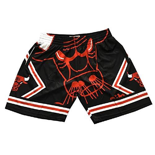 Bulls Retro Basketball Shorts, Männer, schnell trocknend, atmungsaktiv Jogginghose, Fan Sweatshirts, Re-waschbar, Black-L
