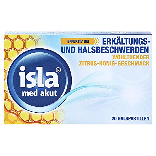 isla med akut Zitrus-Honig Halspastillen bei Erkältungs- und Halsbeschwerden, 20 St. Pastillen
