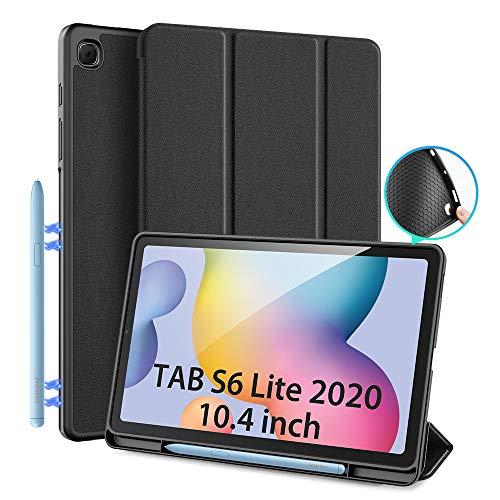 Étui pour Samsung Galaxy Tab S6 Lite 10.4 (P610 / P615) 2020, Étui de protection DUX DUCIS Slim TPU souple avec support S Pen pour Tab S6 Lite 10,4 pouces, couvercle de support avant multi-angle(Noir)