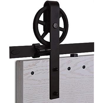 Convient /à 1 Porte Large de 107 cm CCJH Kit Rail Coulissant Armoire Placard Rail Porte Coulissante 214cm//7ft Noir T Shape Big Wheel Hanger