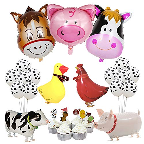 Kreatwow Farm Animal Party Decorations Barnyard Foil Balloons Cupcake Toppers for Birthday Baby Shower Farmhouse Party Supplies