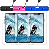 3 Pack Universal Waterproof Phone Pouch, Dry Bag for Cell Phone - Summer Water Sports and Dive for iPhone Xs Max XR X 8 7 6S Plus, Galaxy S10 Plus S10e S9, Pixel 3 2 XL HTC LG Sony Moto Up to 7'
