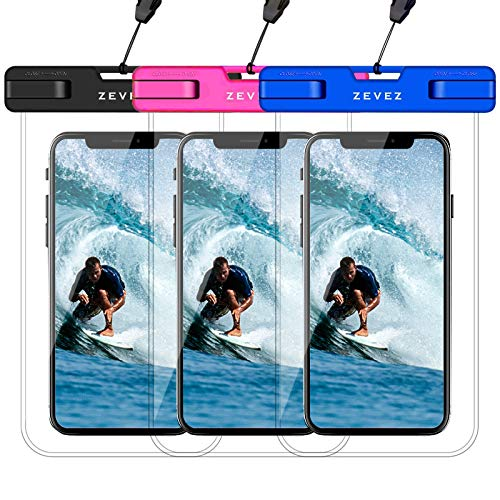 """3 Pack Universal Waterproof Phone Pouch, Dry Bag for Cell Phone - Summer Water Sports and Dive for iPhone Xs Max XR X 8 7 6S Plus, Galaxy S10 Plus S10e S9, Pixel 3 2 XL HTC LG Sony Moto Up to 7"""""""