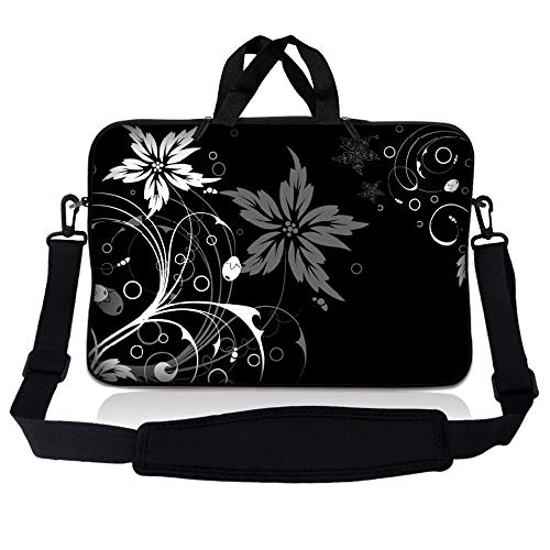 LSS 14.1 inch Laptop Sleeve Bag Carrying Case Pouch w/ Handle & Adjustable Shoulder Strap for 14' 14.1' Apple Macbook, GW, Acer, Asus, Dell, Hp, Sony, Toshiba, Black and White Floral
