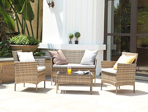 Salbay Rattan-Gartenmöbel-Set für Terrasse, Wintergarten, drinnen und draußen, 4-teiliges Set mit Tisch und Stuhl und Sofa - 2