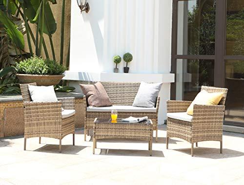 Salbay Rattan-Gartenmöbel-Set für Terrasse, Wintergarten, drinnen und draußen, 4-teiliges Set mit Tisch und Stuhl und Sofa - 4