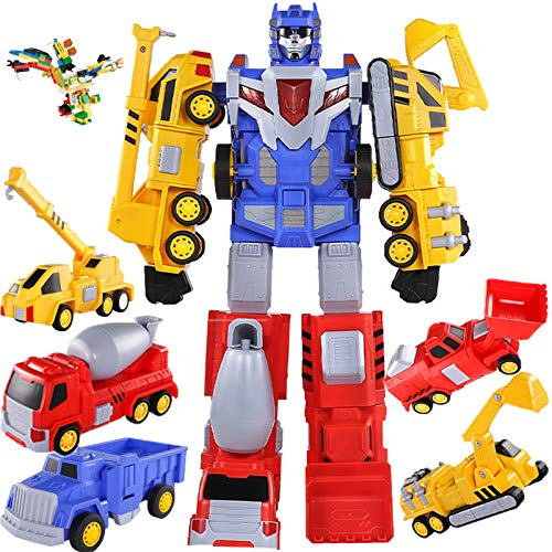 Construction Vehicles Transform into Robot Action Figures,Kids 5 in 1 Large Transformer Toys,Truck & Tool Workbench,Preschool STEM Converting Set for 3 4 5 6 7 8 Year Old Indoor Outdoor Birthday Gifts